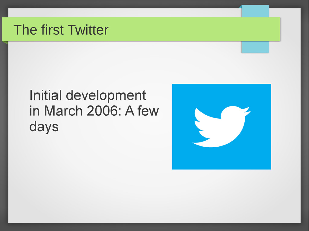The first Twitter Initial development in March ...