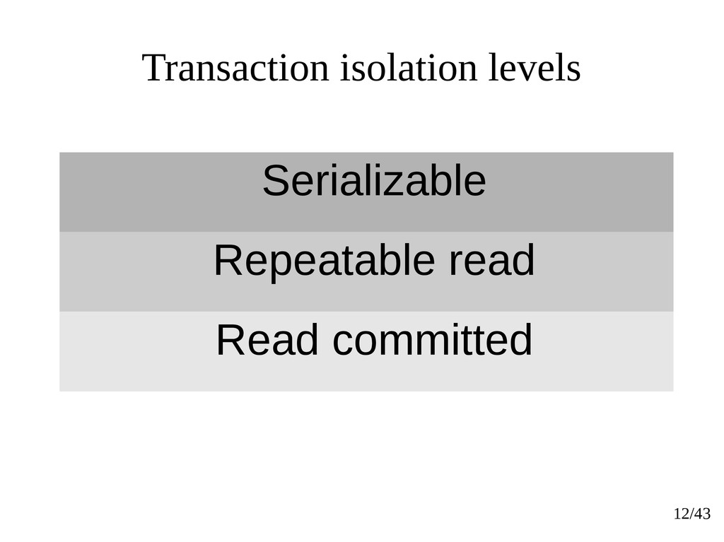 12/43 Transaction isolation levels Serializable...