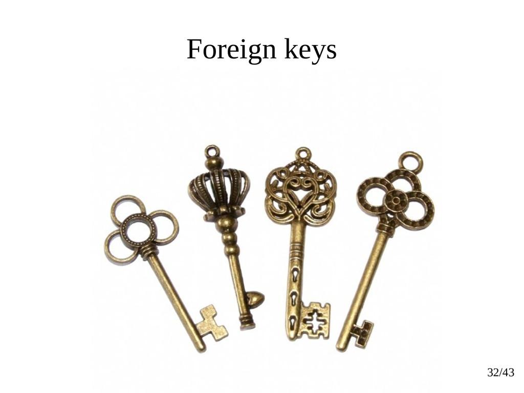 32/43 Foreign keys