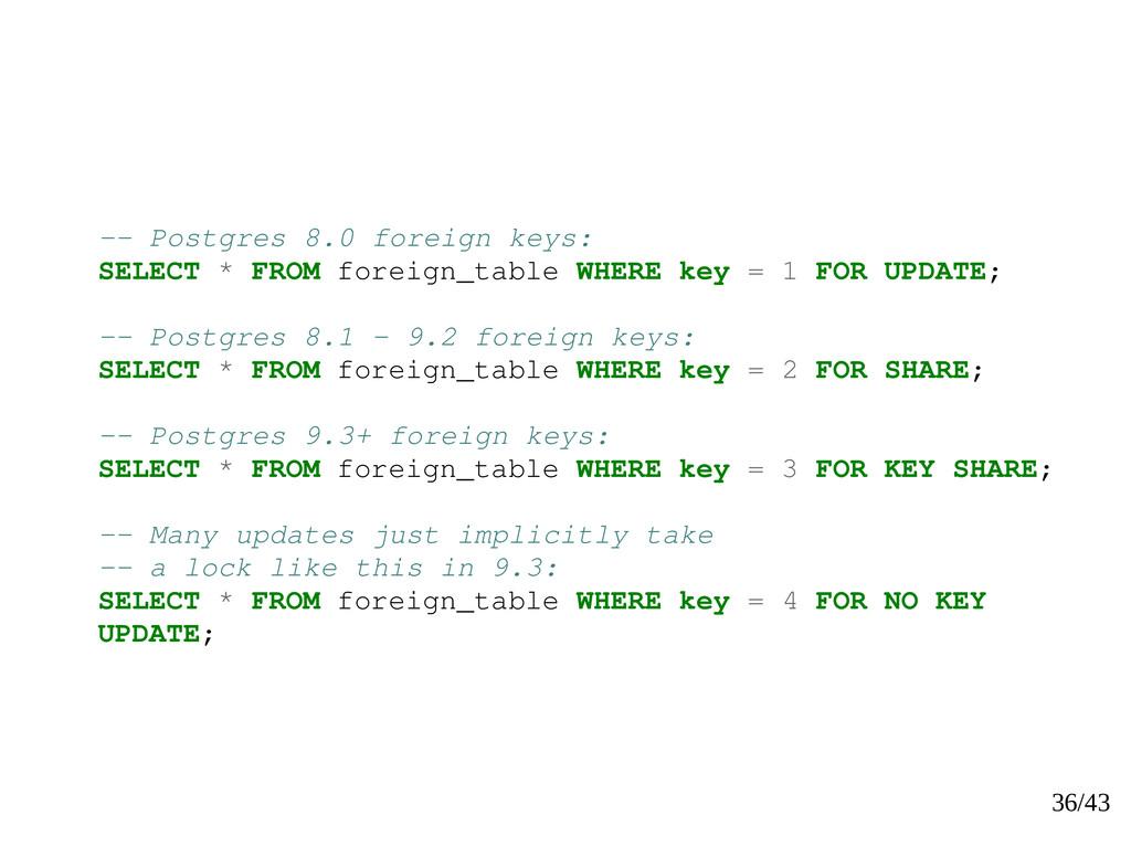 36/43 -- Postgres 8.0 foreign keys: SELECT * FR...