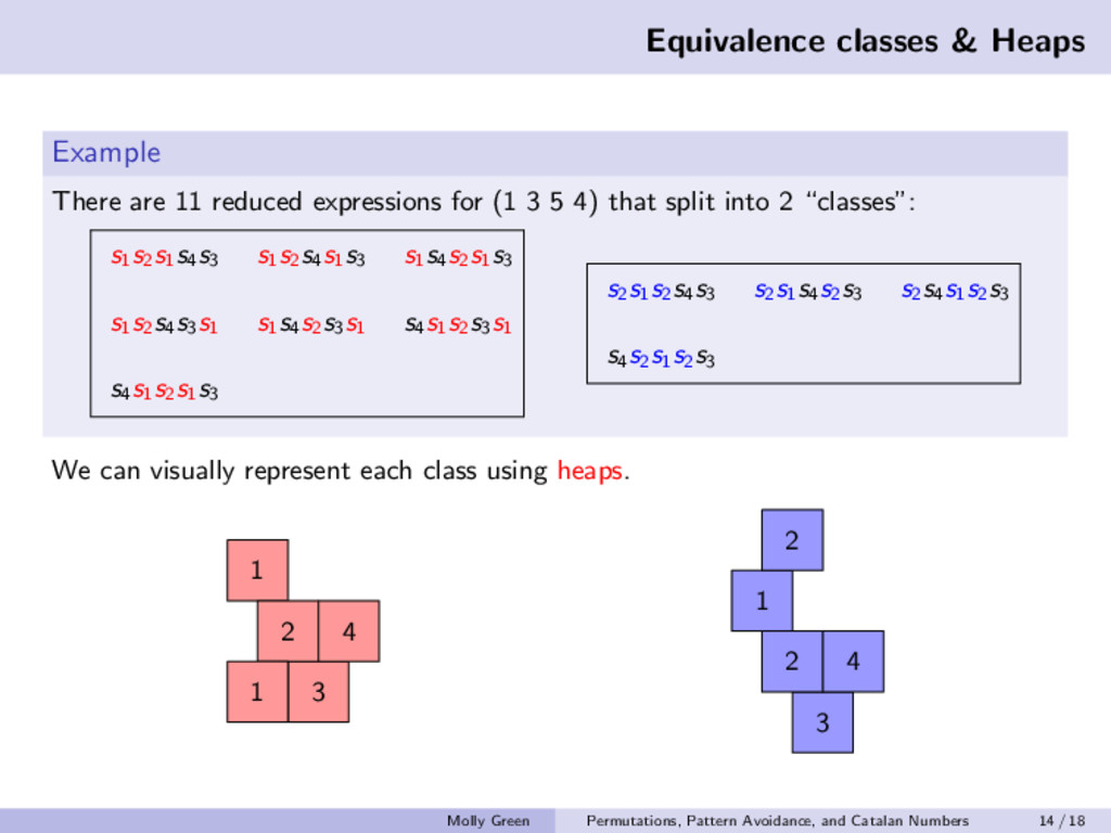 Equivalence classes & Heaps Example There are 1...