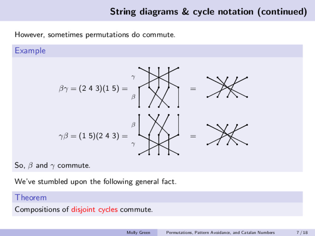 String diagrams & cycle notation (continued) Ho...