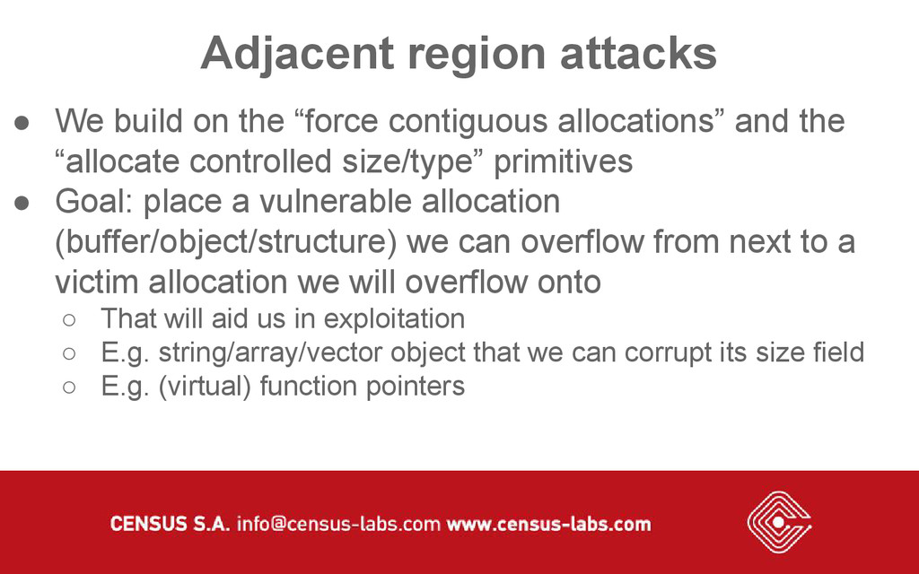 "Adjacent region attacks ● We build on the ""forc..."