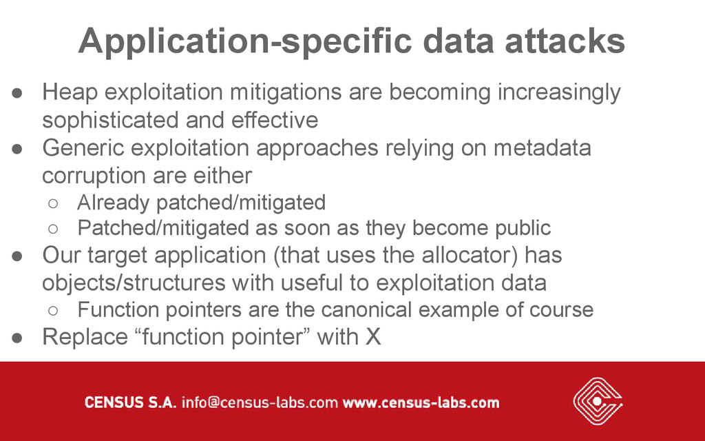 Application-specific data attacks ● Heap exploi...