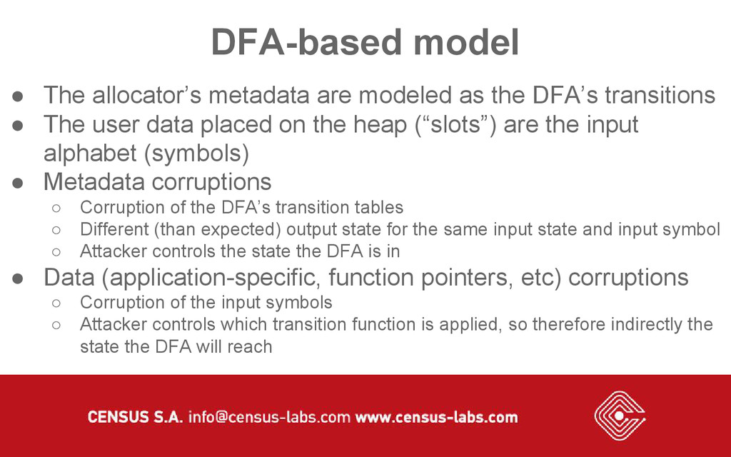 DFA-based model ● The allocator's metadata are ...