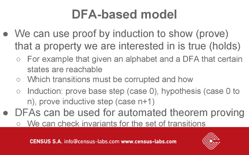 DFA-based model ● We can use proof by induction...
