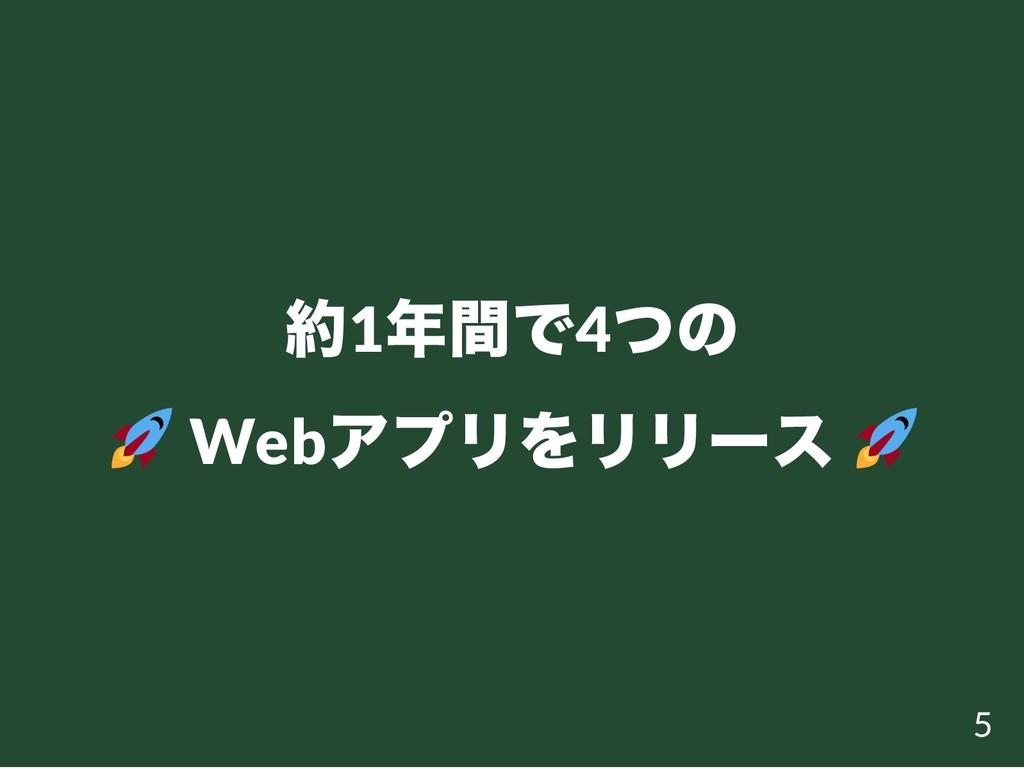 約1 年間で4 つの Web アプリをリリー ス 5