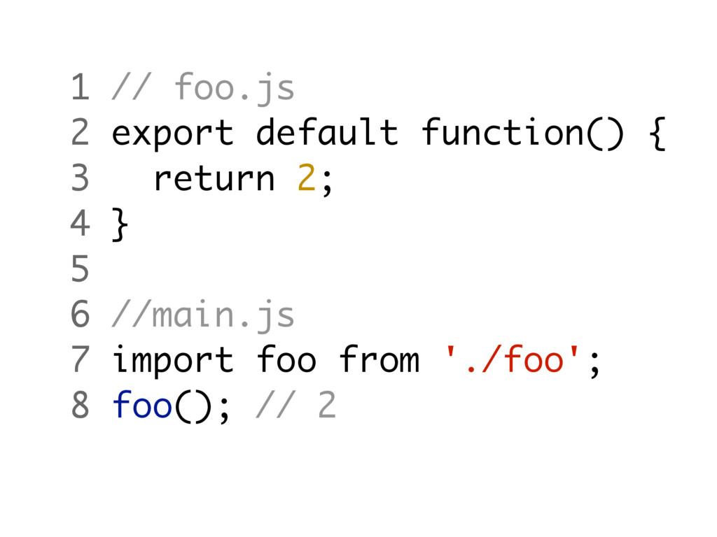 1 // foo.js 2 export default function() { 3 ret...