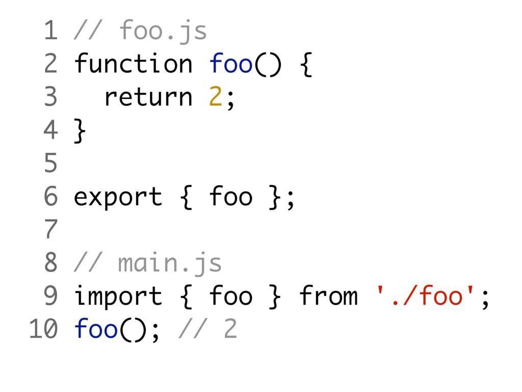 1 // foo.js 2 function foo() { 3 return 2; 4 } ...