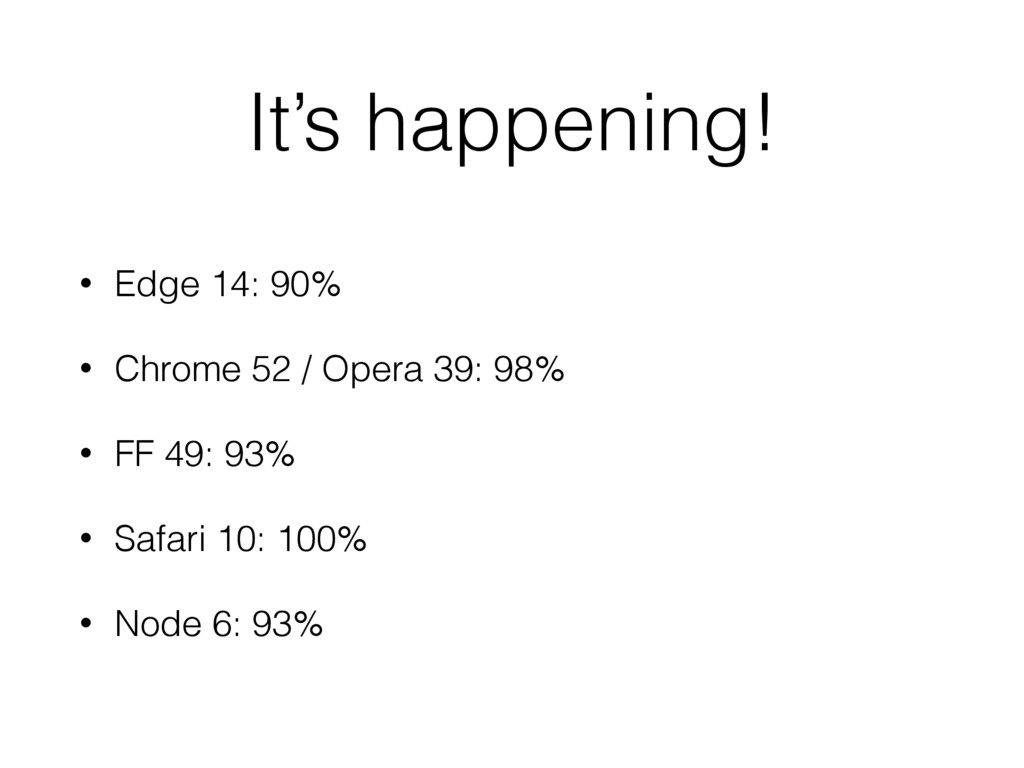 It's happening! • Edge 14: 90% • Chrome 52 / Op...