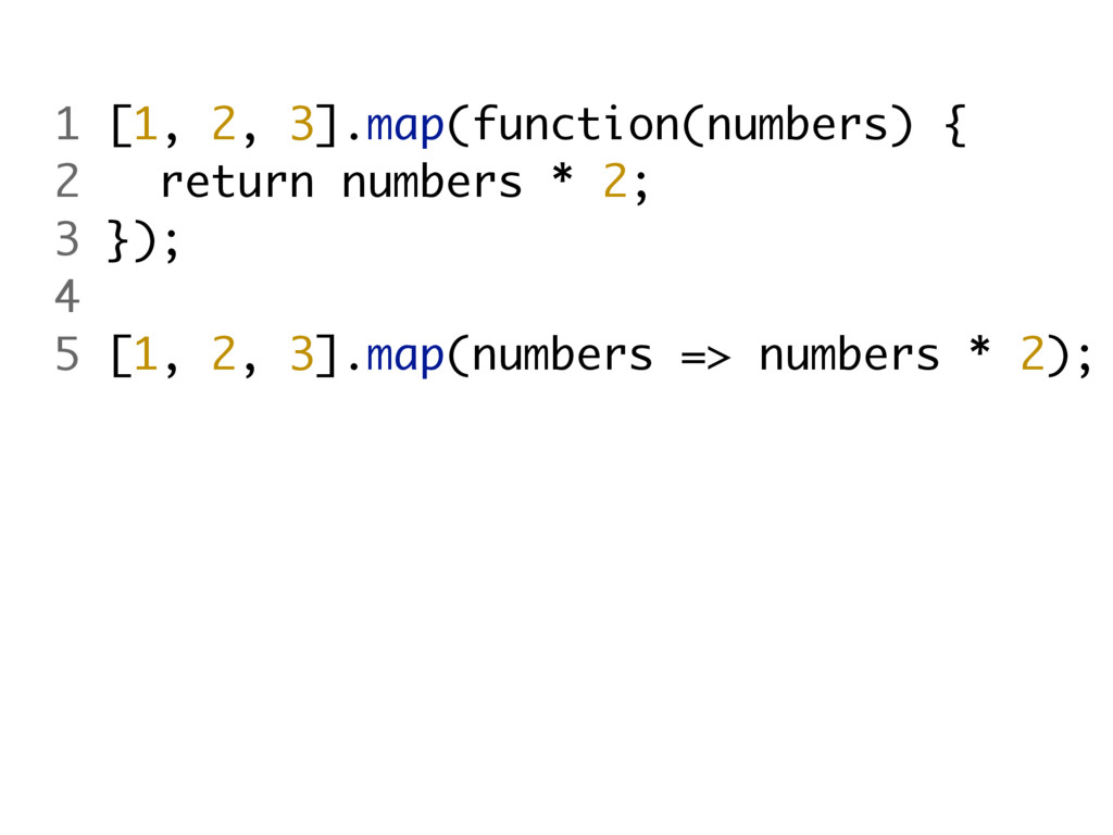 1 [1, 2, 3].map(function(numbers) { 2 return nu...