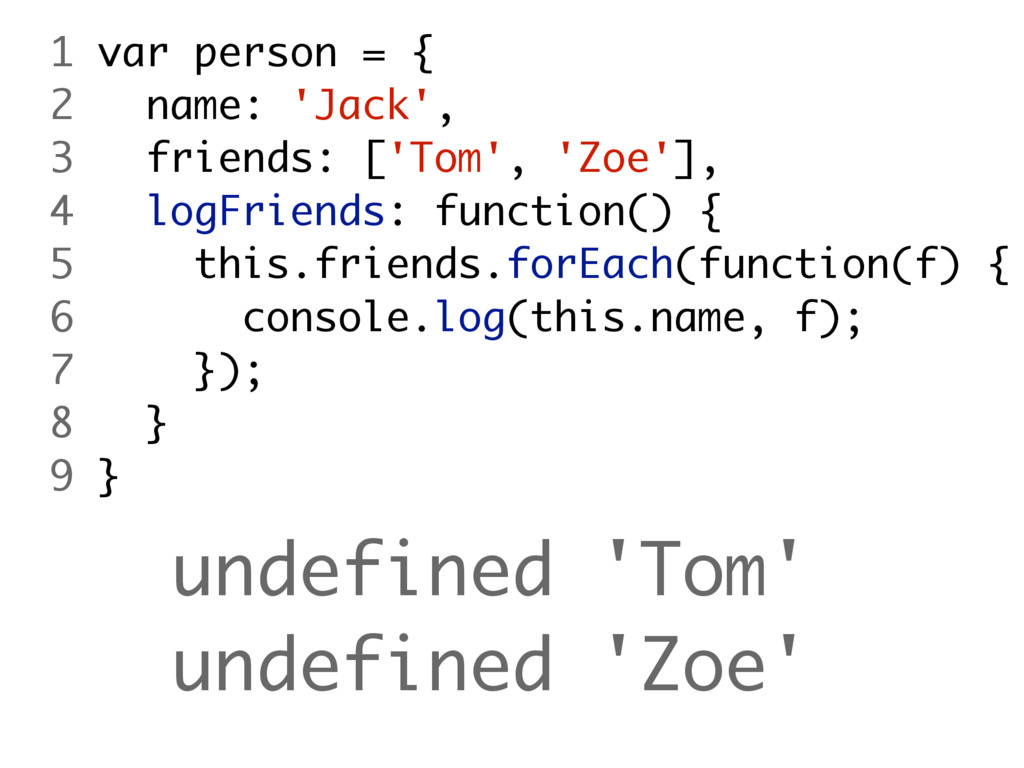 undefined 'Tom' undefined 'Zoe' 1 var person = ...