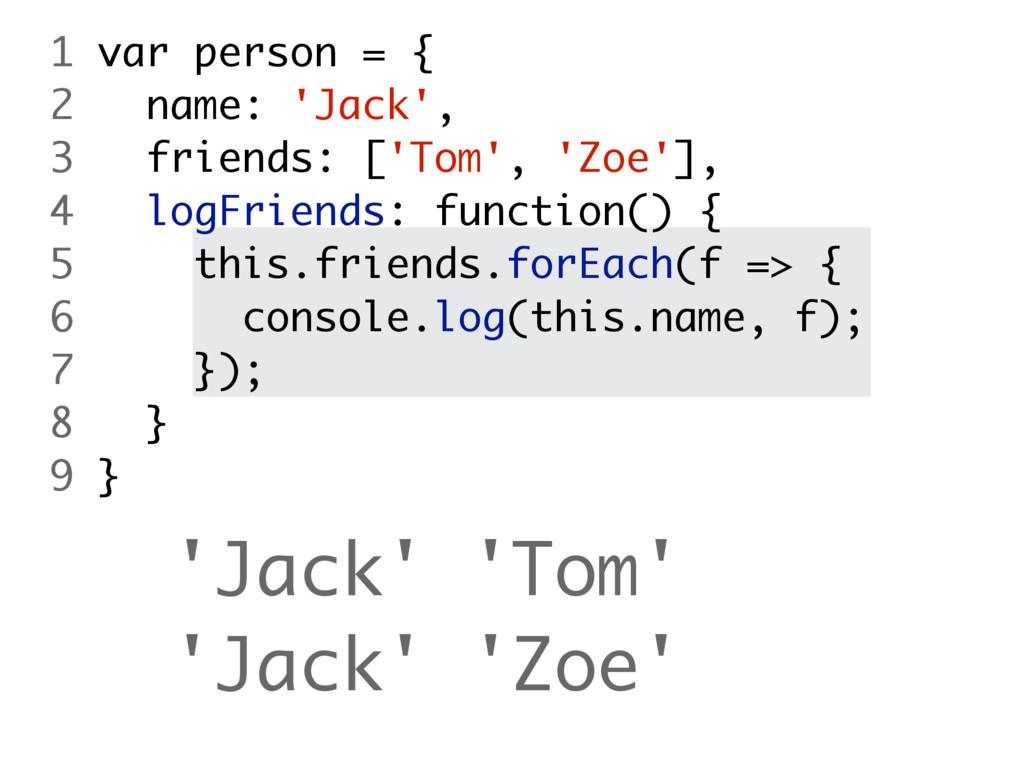 'Jack' 'Tom' 'Jack' 'Zoe' 1 var person = { 2 na...