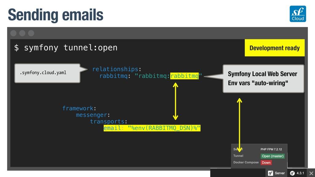 $ symfony tunnel:open Sending emails Symfony Lo...