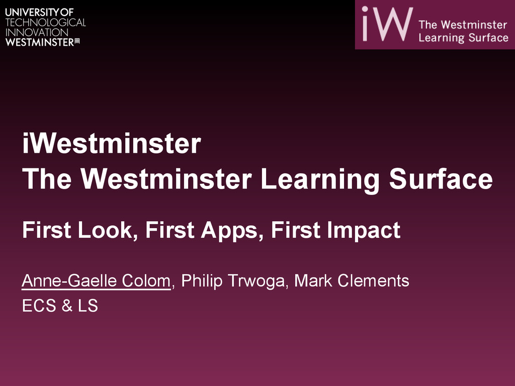 iWestminster The Westminster Learning Surface F...
