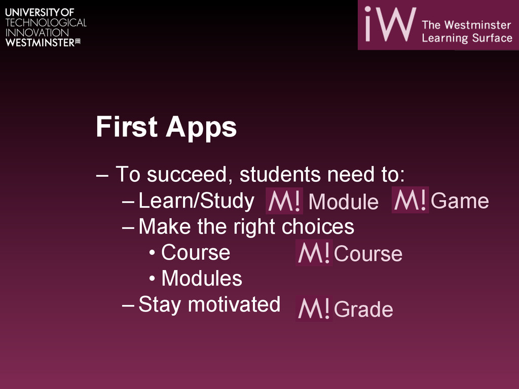 First Apps – To succeed, students need to: –L...