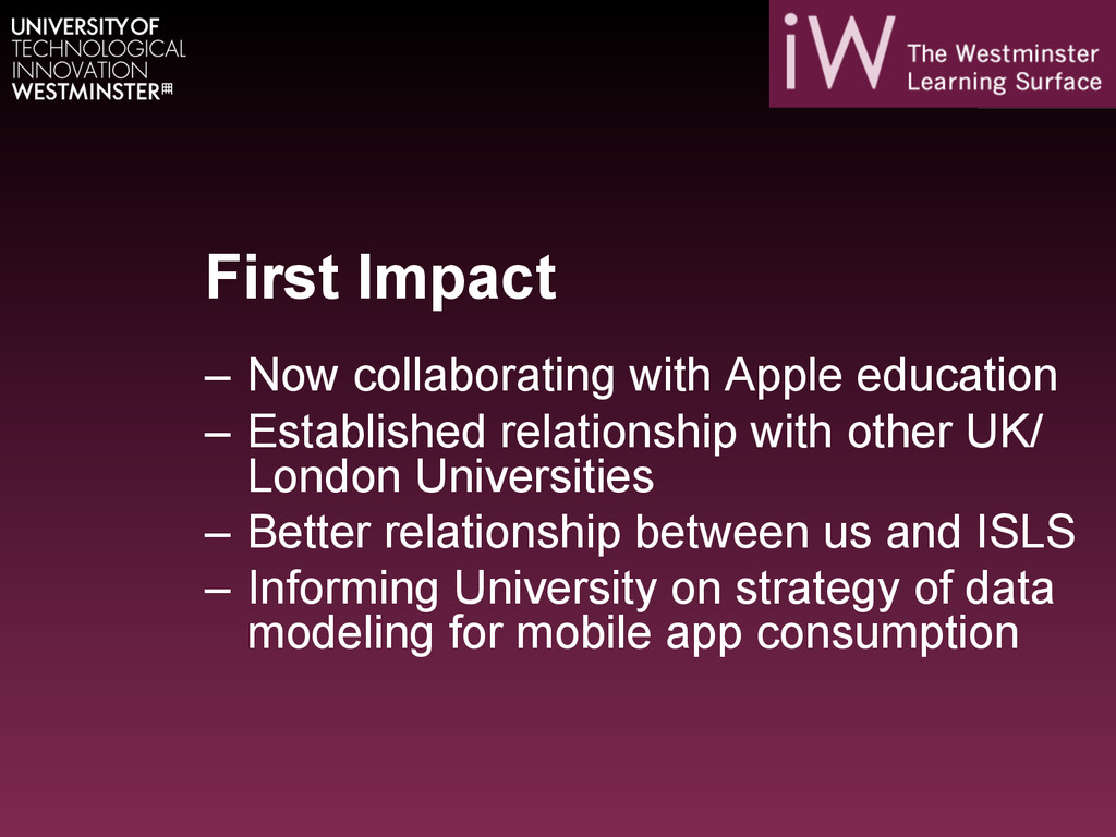First Impact – Now collaborating with Apple ed...