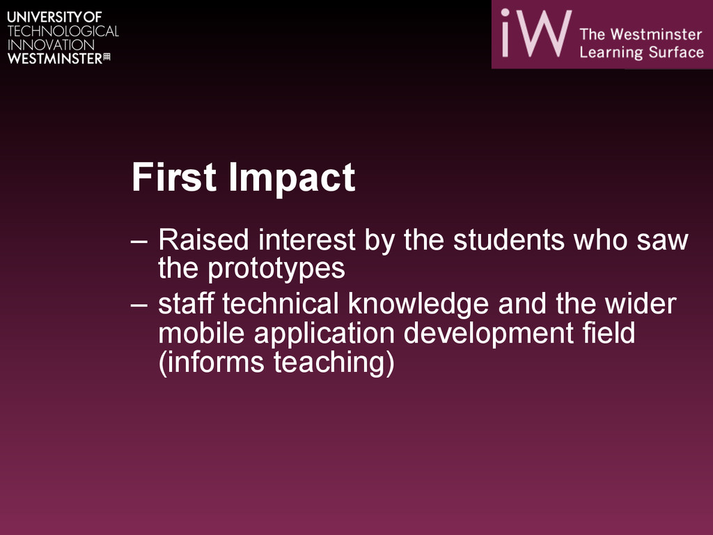 First Impact – Raised interest by the students...