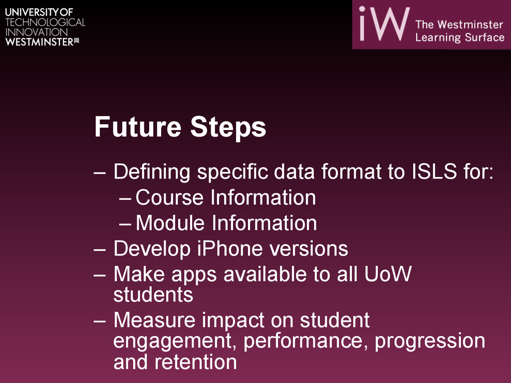 Future Steps – Defining specific data format t...