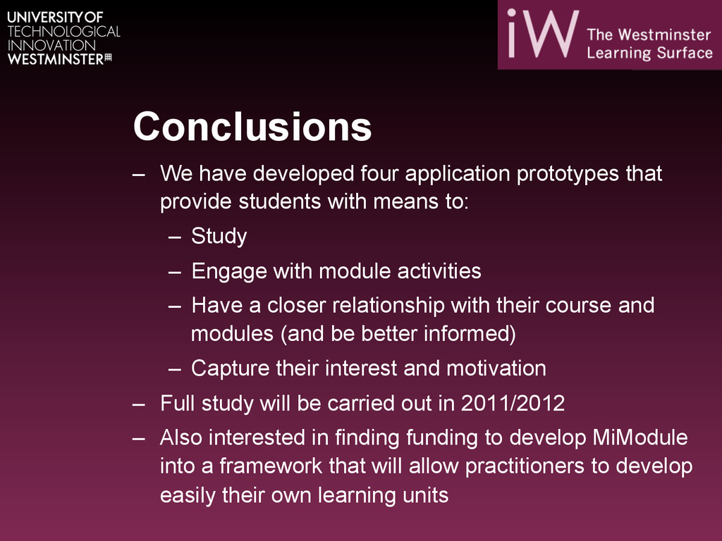 Conclusions – We have developed four applicati...