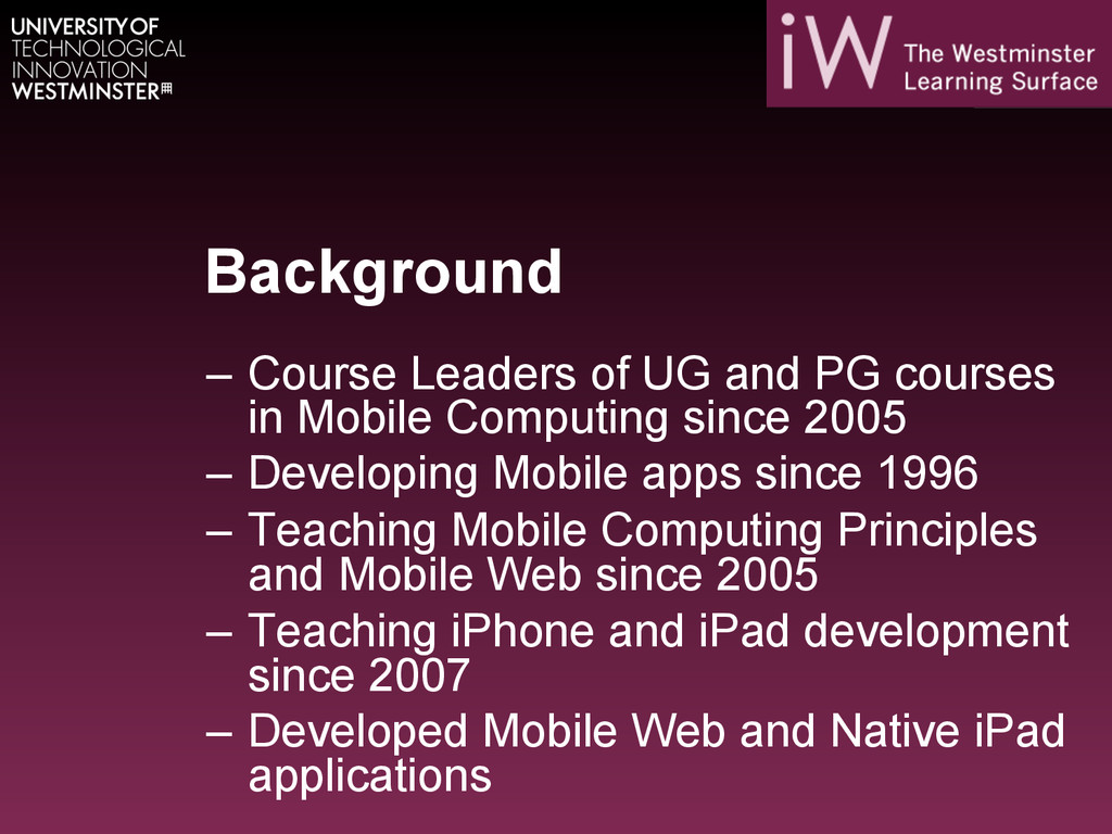 Background – Course Leaders of UG and PG cours...