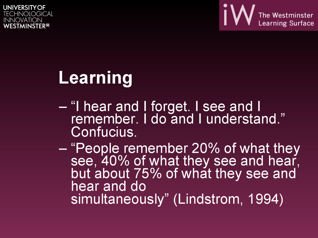 """Learning –""""I hear and I forget. I see and I re..."""
