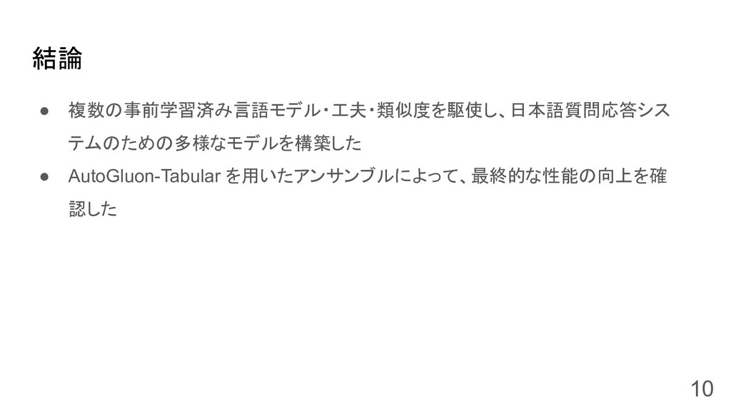 ● 複数の事前学習済み言語モデル・工夫・類似度を駆使し、日本語質問応答シス テムのための多様な...