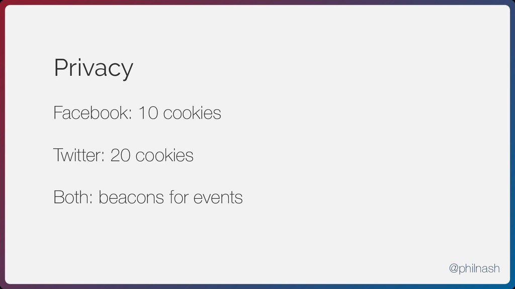 Privacy Facebook: 10 cookies Twitter: 20 cookie...