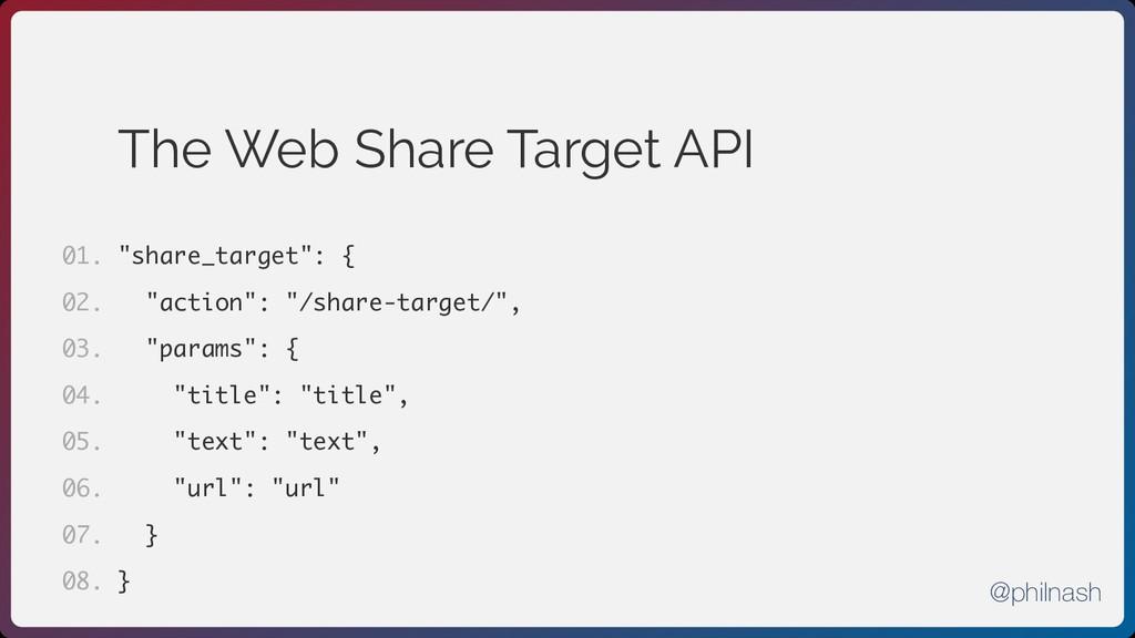 "The Web Share Target API ""share_target"": { ""act..."