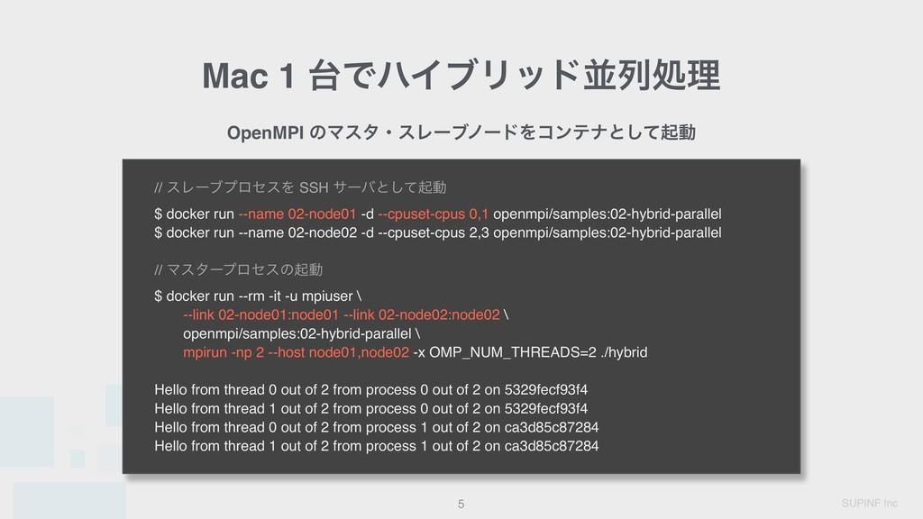 SUPINF Inc Mac 1 ͰϋΠϒϦουฒྻॲཧ !5 OpenMPI ͷϚελɾε...