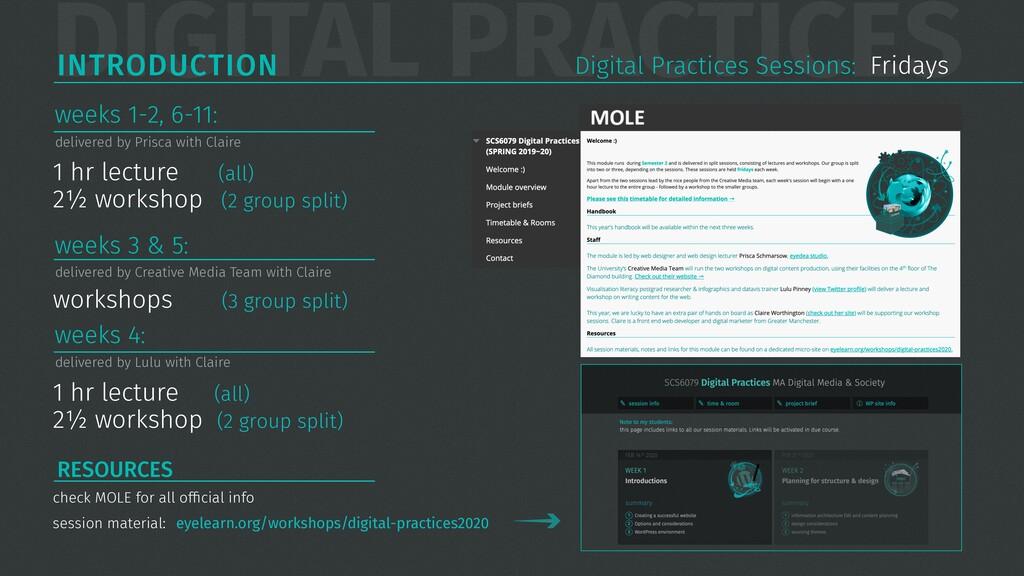 DIGITAL PRACTICES INTRODUCTION 1 hr lecture (al...