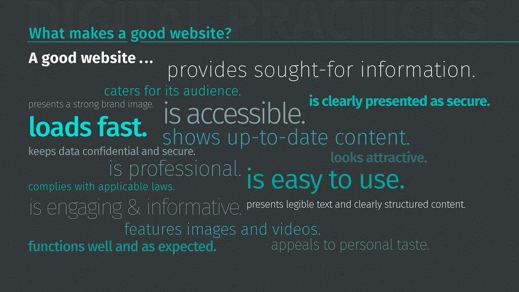DIGITAL PRACTICES What makes a good website? pr...