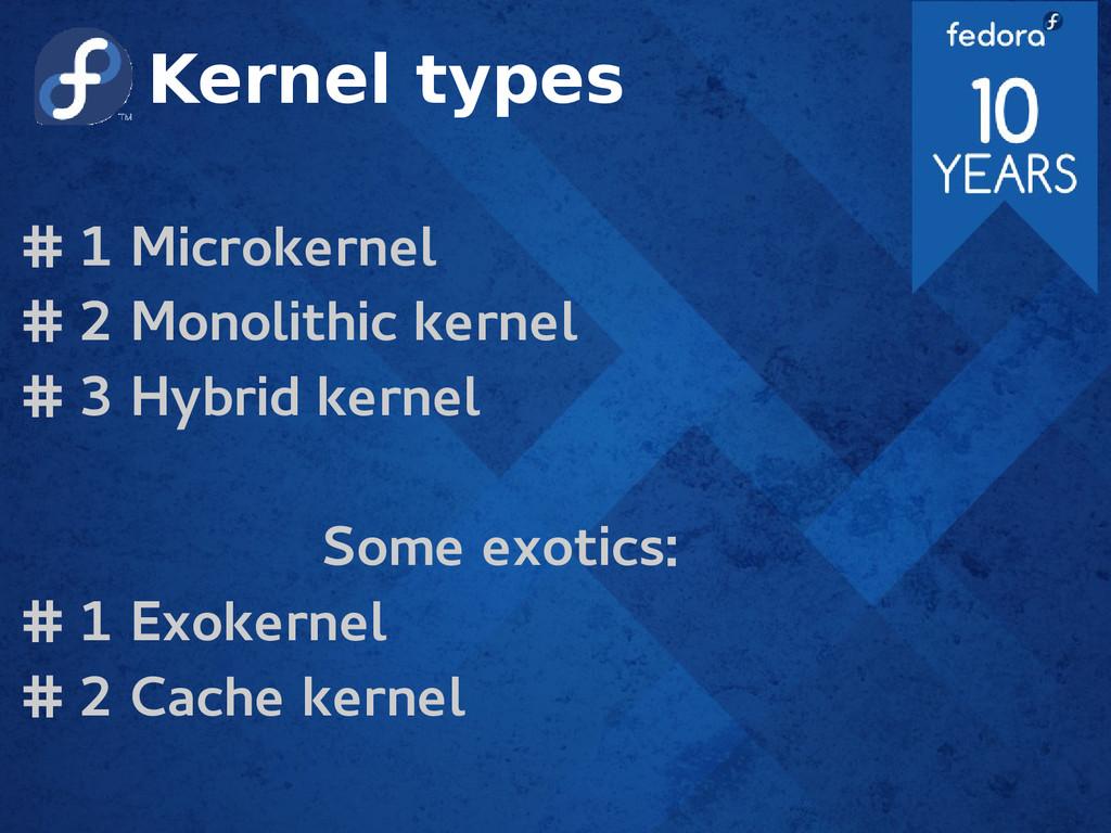 Kernel types # 1 Microkernel # 2 Monolithic ker...