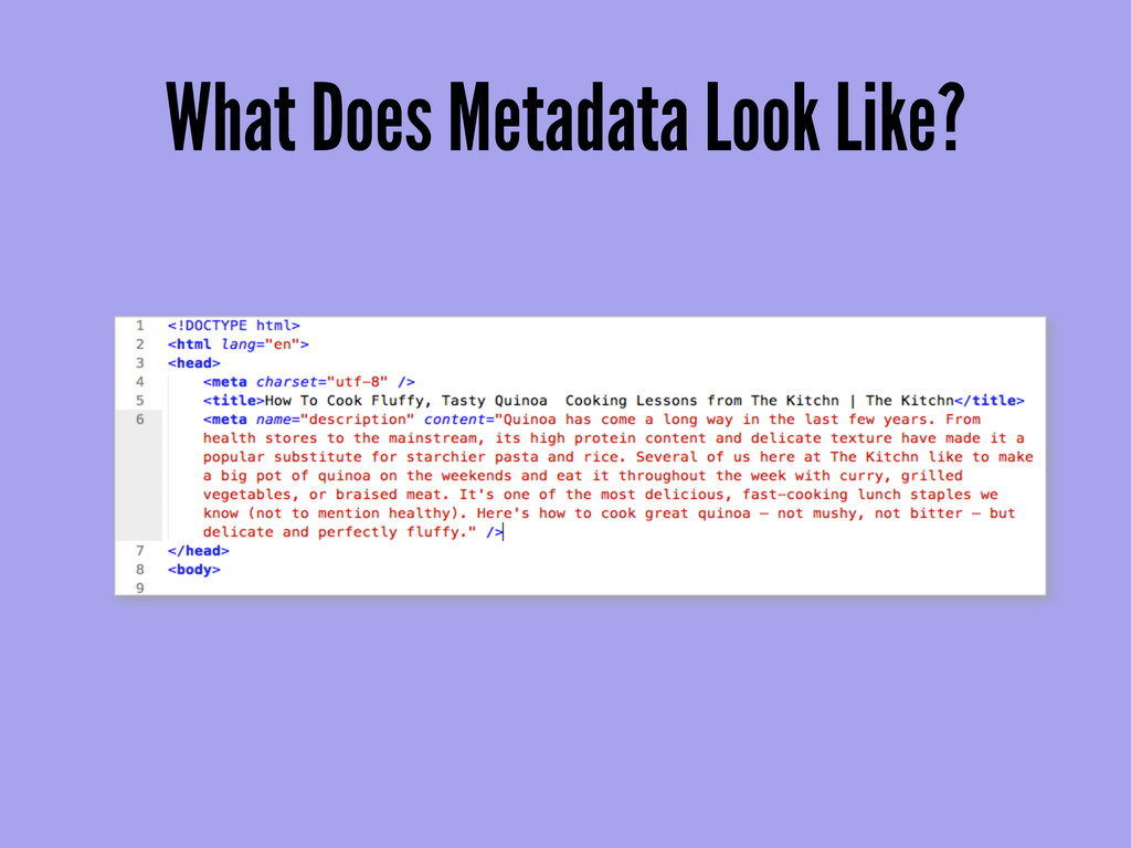 What Does Metadata Look Like?
