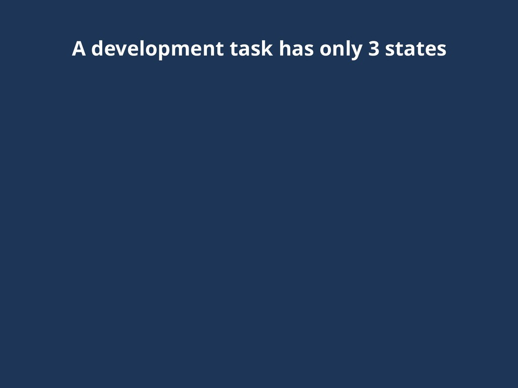 A development task has only 3 states