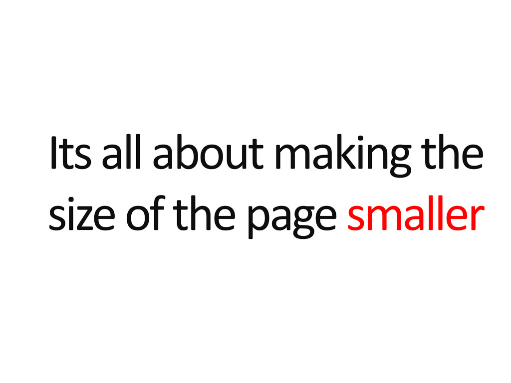 Its all about making the size of the page small...