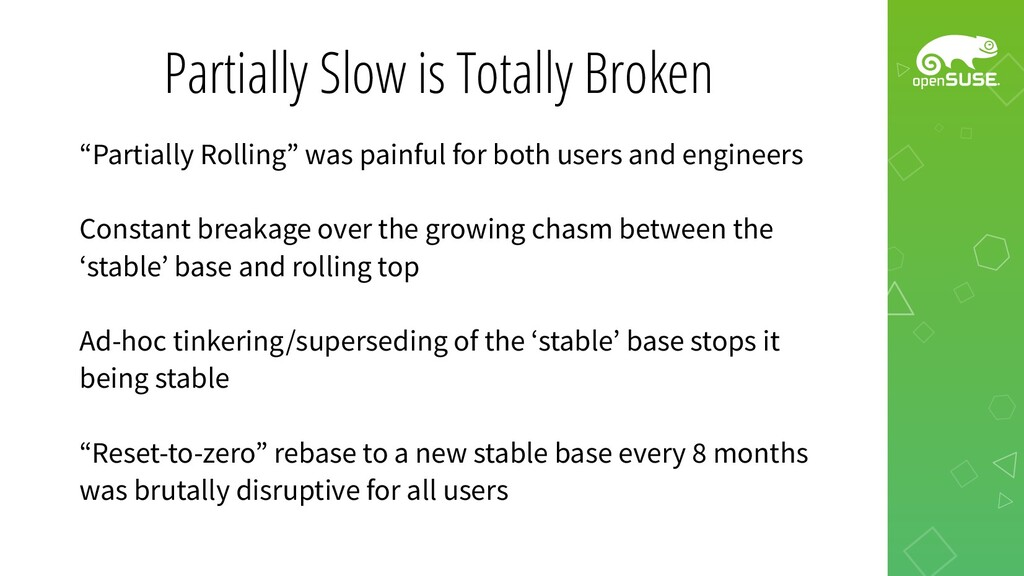 """Partially Slow is Totally Broken """"Partially Rol..."""