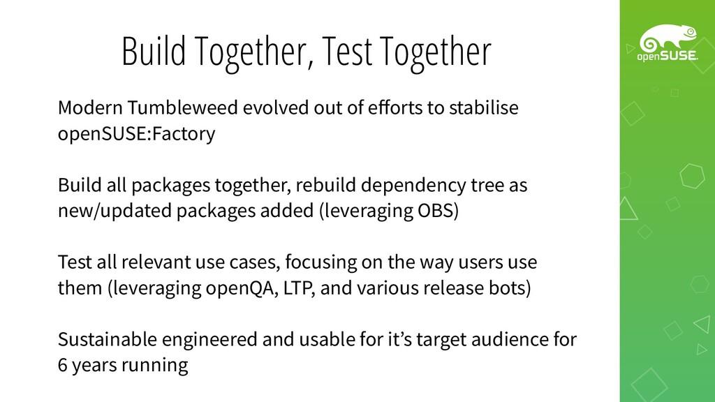 Build Together, Test Together Modern Tumbleweed...