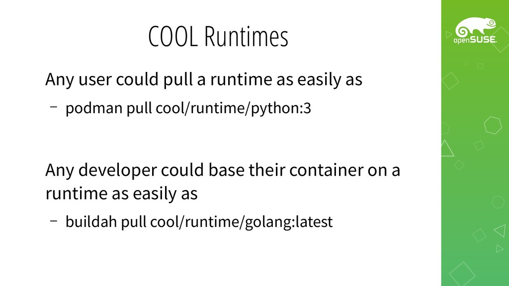 COOL Runtimes Any user could pull a runtime as ...