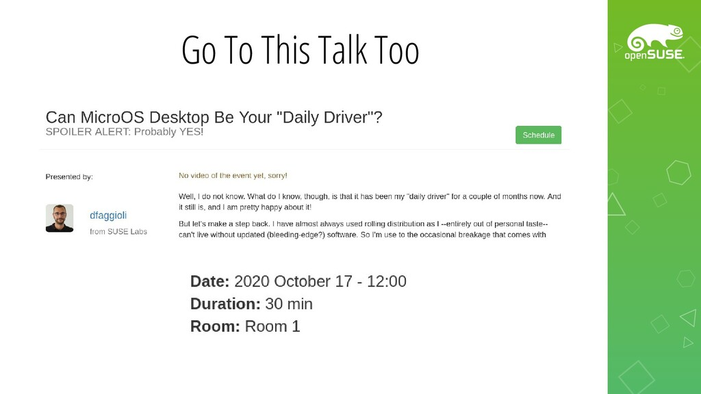 Go To This Talk Too