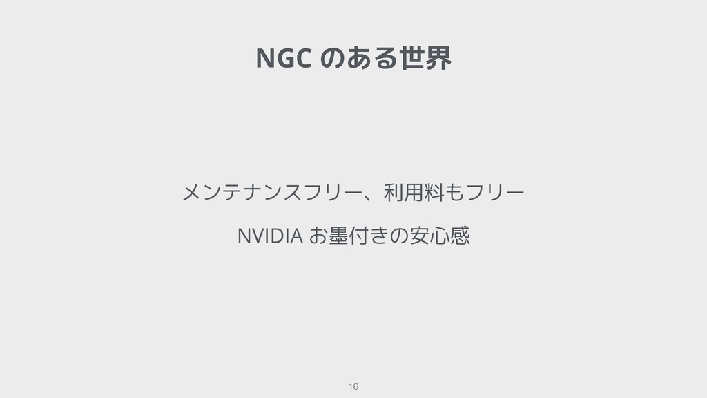 NGC のある世界 !16 メンテナンスフリー、利用料もフリー NVIDIA お墨付きの安心感