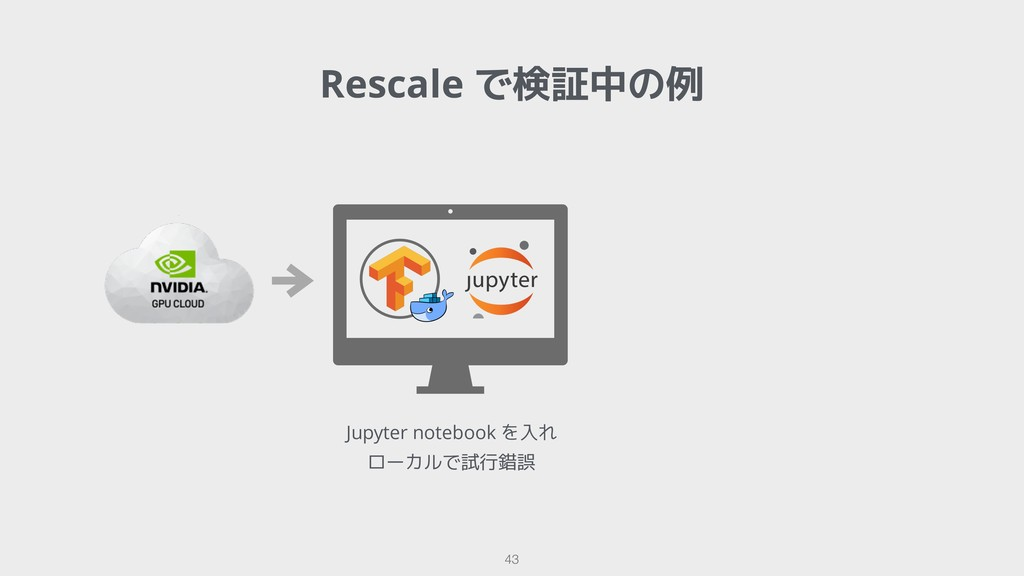 Rescale で検証中の例 !43 Jupyter notebook を入れ ローカルで試行...