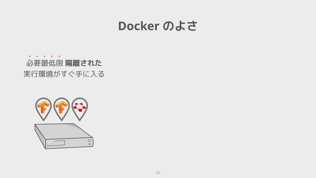 Docker のよさ !10 必要最低限 隔離された 実行環境がすぐ手に入る ・・・・・