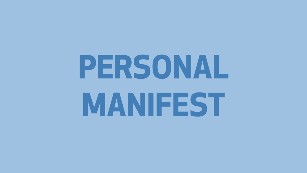 PERSONAL MANIFEST