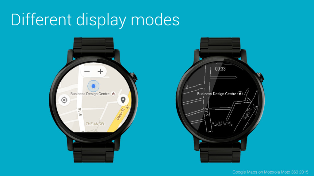 Different display modes Google Maps on Motorola...