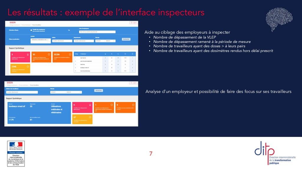 7 Les résultats : exemple de l'interface inspec...