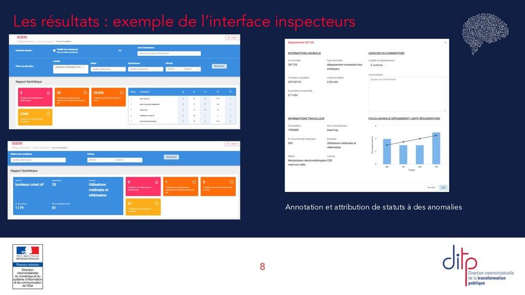 8 Les résultats : exemple de l'interface inspec...