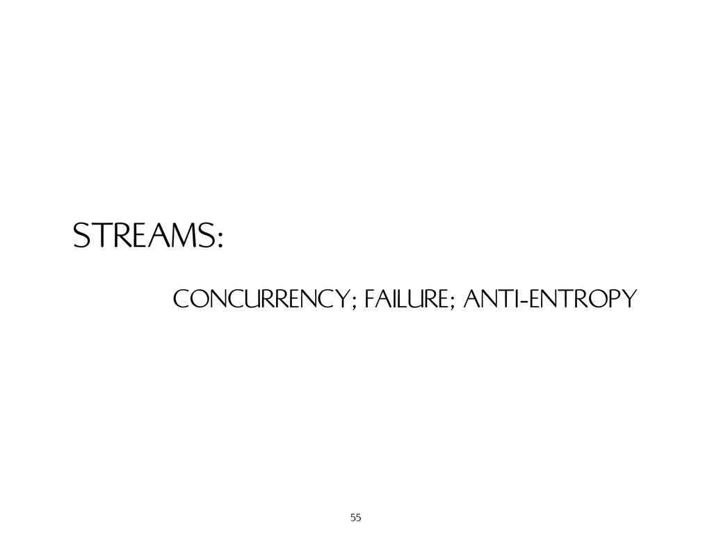 STREAMS: CONCURRENCY; FAILURE; ANTI-ENTROPY 55