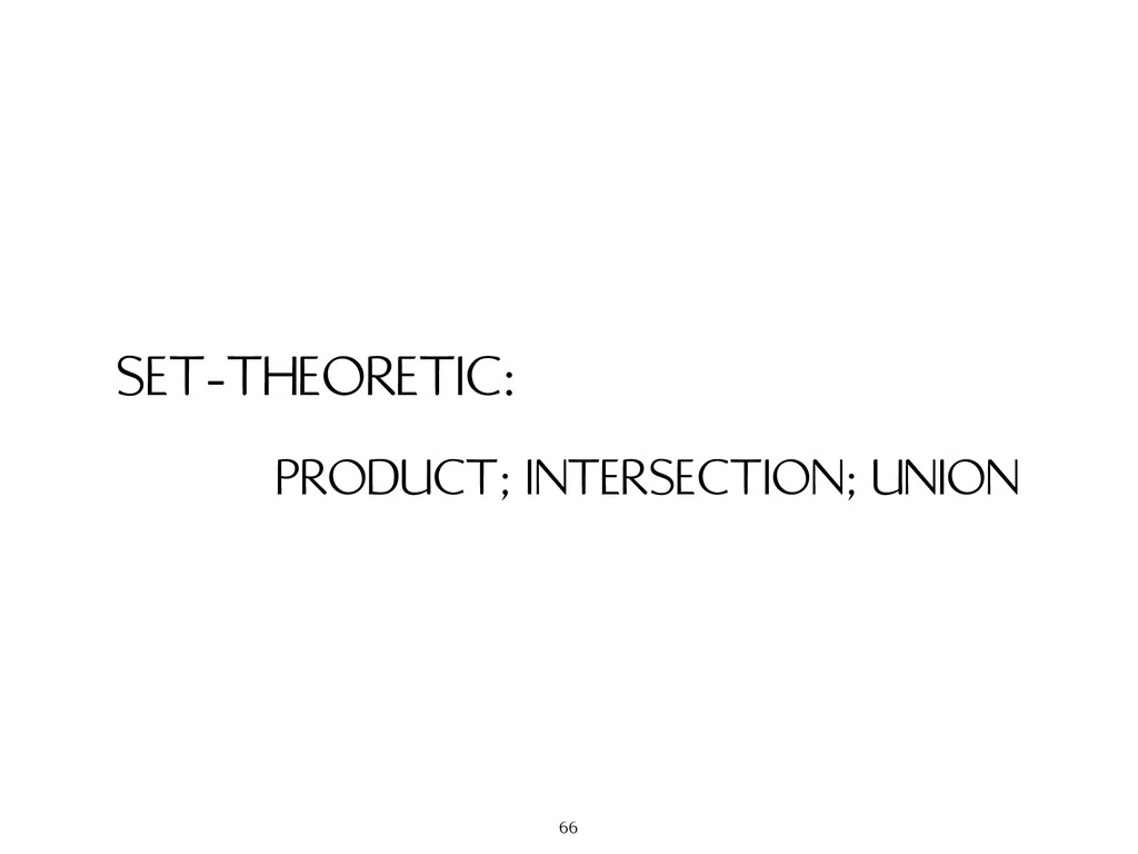SET-THEORETIC: PRODUCT; INTERSECTION; UNION 66