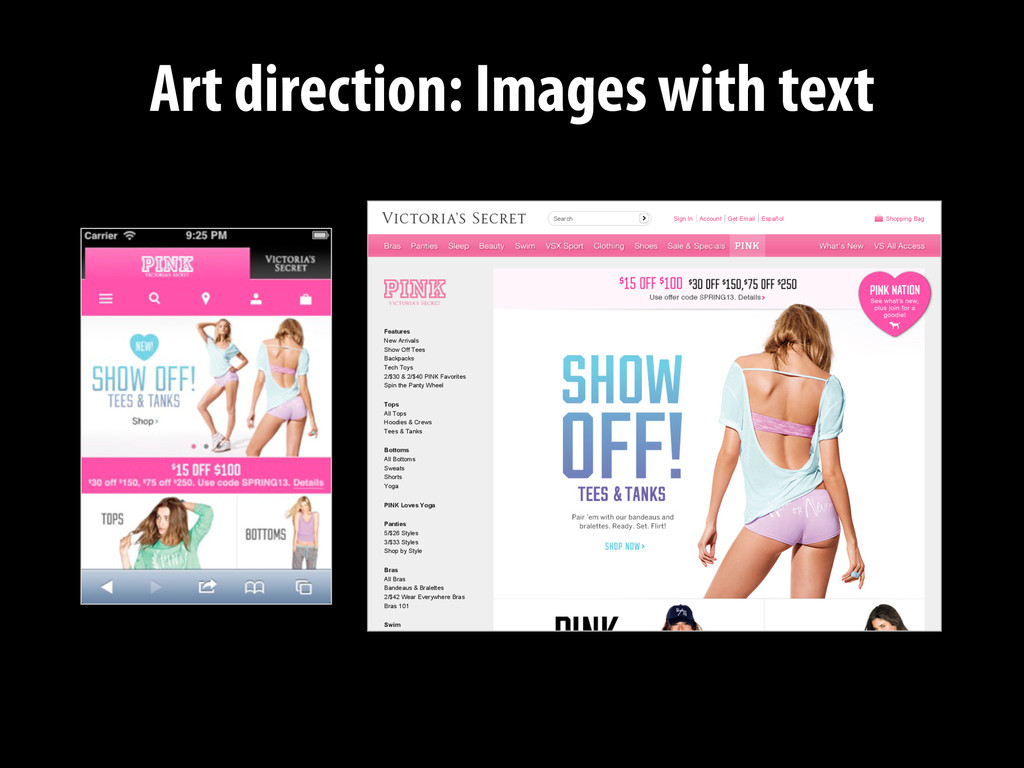 Art direction: Images with text Sign In Account...